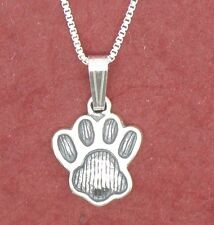 Sterling Silver Paw Print Necklace Solid 925 Charm Pendant and Chain animal pet