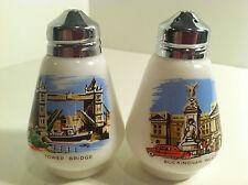 LONDON SOUVENIR MILK GLASS SALT & PEPPER SHAKERS BUCKINGHAM PALACE/TOWER BRIDGE