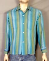 vtg 50s Sears Rockabilly Shirt Gradation Stripe VLV Paper Thin Distressed M