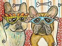 French Bulldog Collectible Dog Art Print 11x14 Signed by Artist Mardi Gras Dogs