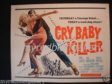 Cry Baby Killer 1958  Jack Nicholson and Roger Corman  Movie Poster