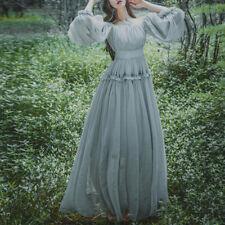 Women Girls Vintage Mori Elegant Fairy Princess Dress Full Length Gown Gray#