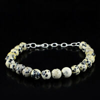 """85.00 Cts Natural 8"""" Inches Long Dalmatian Jasper Untreated Round Beads Bracelet"""