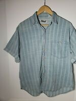 Vintage 80s 90s Tomato Abstract Mens Button Up M Blue Teal White Funky Pocket