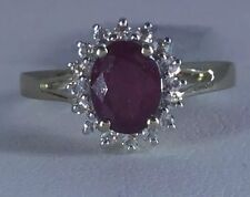 Sz 7 Red Madagascan Ruby & White Topaz Gold Plated Sterling Silver Ring 2.07 cts