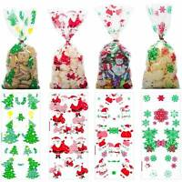 50PCs Christmas Cellophane Party Bags Treat Candy Biscuits Bag Party Gift New