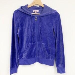 Juicy Couture women's Velour Violet purple full zip Sweatshirt top Sz S Small