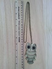Bronze Copper Metal Wisdom Blessing Owl Pendant Necklace Gift Present Love Lucky