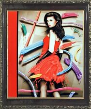 Vogue Exotic Woman in Red Dress Fashion Wall Decor Mahogany Framed Picture 20x24