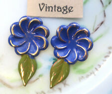 Vintage Findings, Brass Flower Cabochons Painted Stamping Leaves Leaf NOS #1443A