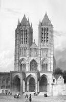 FRANCE Cathedral of Noyon - SUPERB Litho Antique Print