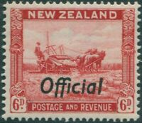 New Zealand official 1936 SGO127 6d scarlet Harvesting MNH