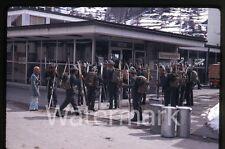 Apr 1970 kodachrome photo slide  Zermatt Switzerland Alpine military troops skis