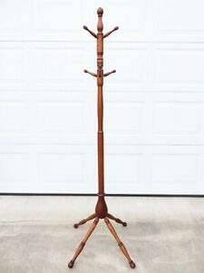 ANTIQUE Victorian OAK COAT TREE HAT RACK STAND Arts & Crafts TURNED WOOD Mission