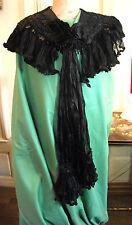 Capelet ancien couvre-èpaules XIXè perles de jais et mousseline de soie - chale