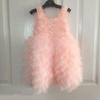 SUGAR Peach ROSETTE & RUFFLES Summer Kids Girls Boutique FROCK Dress SZ 3/4/5/6