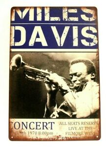 New Miles Davis Tin Concert Poster Sign Man Cave Vintage Style Blue Jazz Music