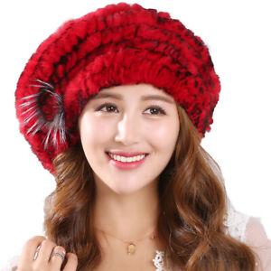 Winter Warm Fur Hat Women Real Rex Rabbit Beret Beanies Cap Handmade Fluffy Soft