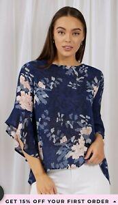 Caroline Morgan Navy Floral Blouse - Size 16