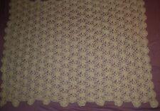 "Handmade Crocheted Throw Blanket Afghan Ivory Floral Flowers Crochet 53"" x 61"""