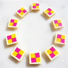 10 PIECES BATTENBURG CAKE CLAY POLYMER BEADS  JEWELLERY BRACELET NECKLACE