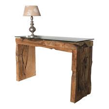 Wurzelblock Konsolentisch Konsole Tisch massiv aus Teak Wurzelholz Glasplatte