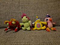 4 x Mcdonalds DIGIMON vintage soft toy plush. Biyomon, gabumon, palmon, tentomon