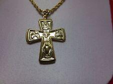 "14 KT GOLD EP  AVE MARIA CATHOLIC CROSS  &2.5MM 24""  ROPE-3064,LIFETIME GUARANTY"