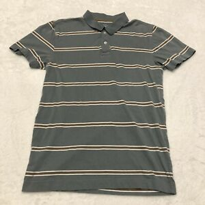 Aeropostale Polo Shirt Gray Brown Striped Size Medium Rugby Men's Collared