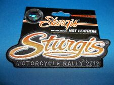 STURGIS 2012 BLACK HILLS MOTORCYCLE RALLY ORANGE & BLACK EMBROIDERED PATCH NEW