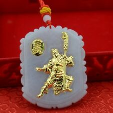 Authentic Grade A Jadeite with 999 Gold Guan Gong Pendant with Certificate