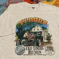 Vintage Ty-Rods Old Timers Reunion T Shirt Mens L XL Classic Cars Auto Show 25th