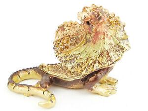 Frilled Neck Lizard Jewelled Trinket Box (2) approx 6.5cm High