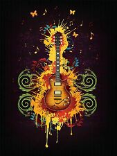 PRINT POSTER PAINTING GUITAR PAINT SPLAsH BUTTERFLY GROOVY COOL RETRO LFMP0030