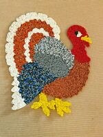 "Vtg 70'S Thanksgiving Turkey Melted Plastic Popcorn Wall Hanging Plaque 22"" Tall"