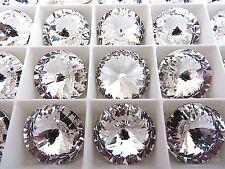 2 Clear Crystal Foiled Swarovski Rivoli Stone 1122 18mm