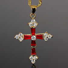 Stunning! Cross Cut Red Ruby Gold Tone Pendant Necklace Lady Fashion Jewelry