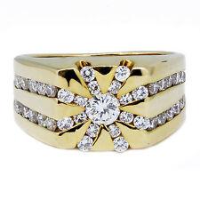MENS 14K Yellow Gold Round Diamond Cluster Ring 1.20 CARAT TW