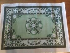 GREEN FLORAL RUG OR WALL HANGING-HANDPAINTED NEEDLEPOINT CANVAS