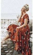 Free People All I Got Maxi Dress Retro Floral Botanical Tiered Plunge Size 4