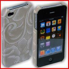 iPhone 4S / 4 Rückschale Rosen-Muster Case Tasche Hülle Schale 4G S i Phone weiß