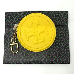 Tory Burch NEW Fleming Soft Lambskin Limone Yellow Logo Embossed Coin Pouch $148