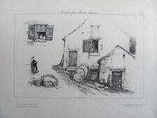"""Eugène Isabey: """"Maisons, Fenêtres, Lampe"""" - Lithographie Orig. - 1830-1831"""