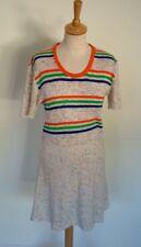 Vintage 70s striped t-shirt jersey knit stretch short sport dress, S M