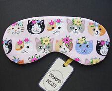 Eye Sleep Mask Cats Kittens Cotton Love Valentine Gift, Blackout Relax UK Made