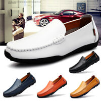 AU Men's Genuine Leather Driving Casual Boat Shoes Moccasin Slip On Loafers