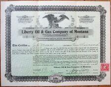 Livingston, MT 1918 Stock Certificate: Liberty Oil & Gas Co. - Montana Mont