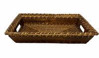 "Vintage Wicker & Wood Tray W Handles 14"" X 10"" Serving Or Decor Mid Century Boho"