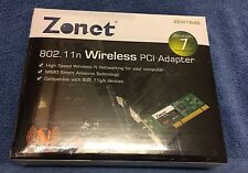 New Zonet ZEW1642 802.11n Wireless PCI Adapter Dual Antennas Lot of 5