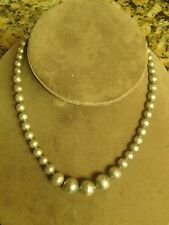Vtg Mexico 925 Sterling Silver Handmade Beads on Chain Necklace 16""